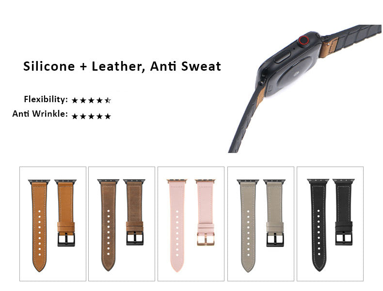 Genuine Leather Watch Bands For Apple Watch Generation 5,4,3,2,1, 38, 40, 42, 44mm - Silicone Anti Sweet