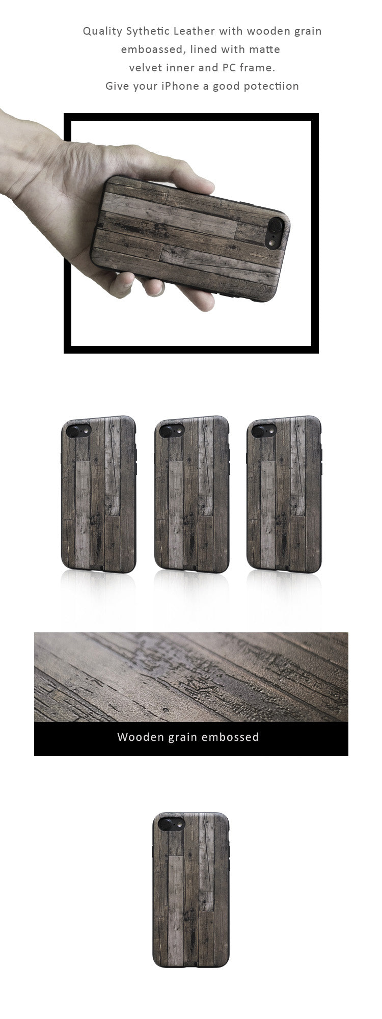 Protective case for iPhone 6/7/8, iPhone 6/7/8 Plus, iPhone X- Quality Synthetic Leather with wood grain embossed, lined with matte velvet inner and PC frame.