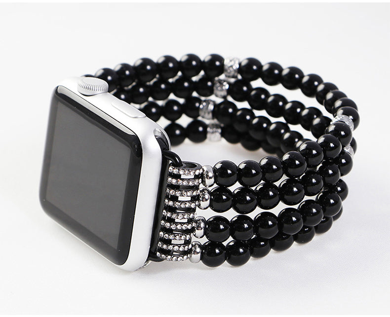 Jewellery Agate Beads + Stainless Steel Bracelet Watch Band for Apple Watch 5,4,3,2,1 38, 40, 42, 44mm