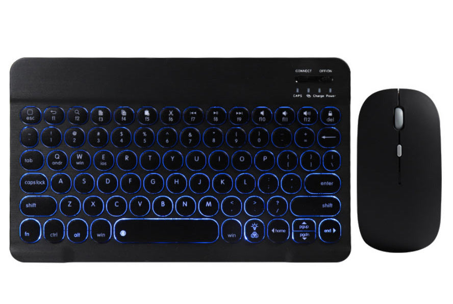 Illuminating 7 Colors Backlit Bluetooth keyboard for iOS, Android, Windows System + Optical Mouse Set