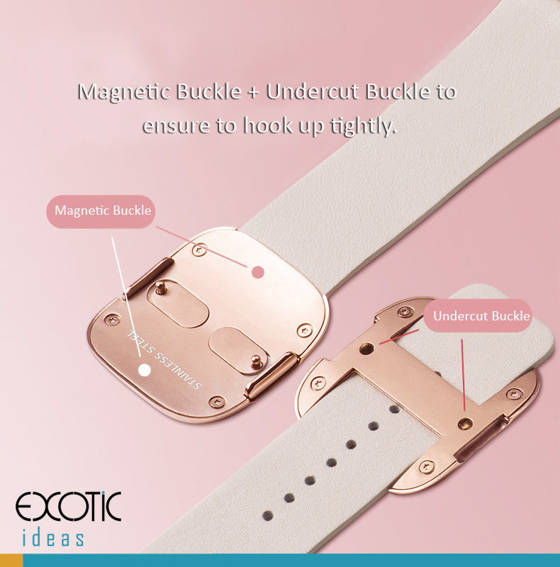HOCO - Elite Series - Quality Cowhide Leather Watch Band for Apple Watch 38mm, 42mm. Loop Strap with Stainless Magnetic Buckle, Bundled with PC Metal Plated Frame