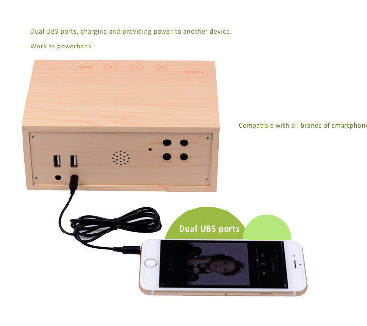 Wooden clock MP3 player+stereo speaker  with wireless charging NFC Touch...features