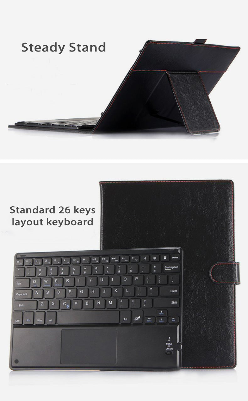 Fine Leather Cover Case with Removable Bluetooth Keyboard and Touch Pad for Table 10.1""