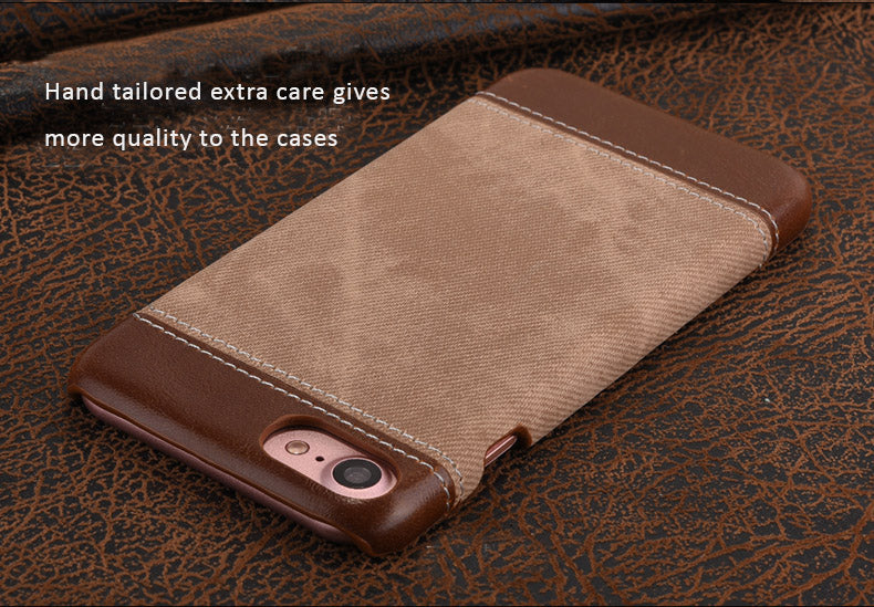 Kajsa Quality PU Leather + Denim Material Cases/Skins for iPhone 7/7 Plus