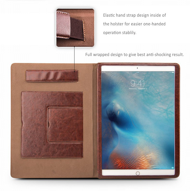 "Genuine Top Selected  Cowhide Leather Smart Cover / Holster for iPad Pro 12.9"" with 2 stands"