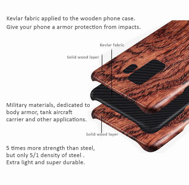 Solid wood phone cases with Kevlar fabric applied for Samsung Galaxy 9S/9S Plus. Give your phone an armor protection.