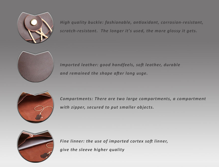 """Genuine Leather Envelope Sleeve for MacBook Air, Pro, Retina 11.6"""",12"""",13.3"""",15.4""""- Portrait - Free gift - Sleeve for cables and mouse"""