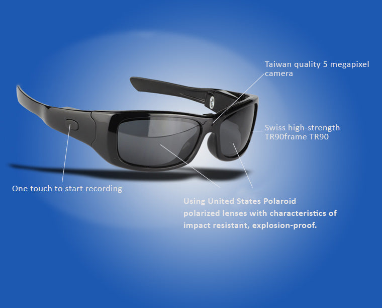 UVA UVB UVC 400  Polarized Video Sunglasses with Stereo Earplug for Driving and Outdoor Activities, Tachograph Camera Recorder, Bluetooth...etc. features.
