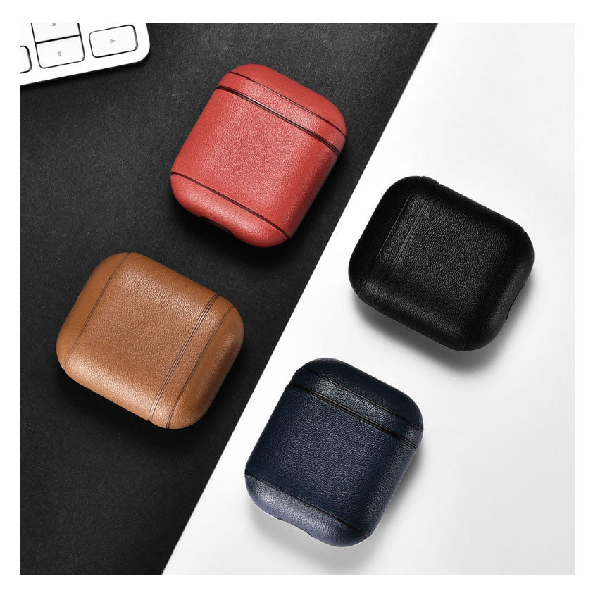 ICARER Headset leather case Apple AirPods protective case Bluetooth feature accessible