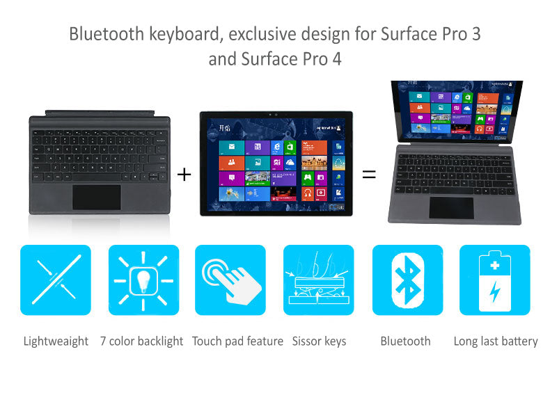 Bluetooth keyboard for Surface Pro 3, Pro 4 Turn your  surface pro into a laptop in a second. With backlit feature for night use.