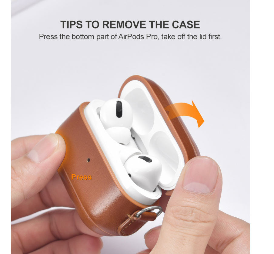 ICARER Headset leather case Apple AirPods protective case Bluetooth feature accessible with handle strap