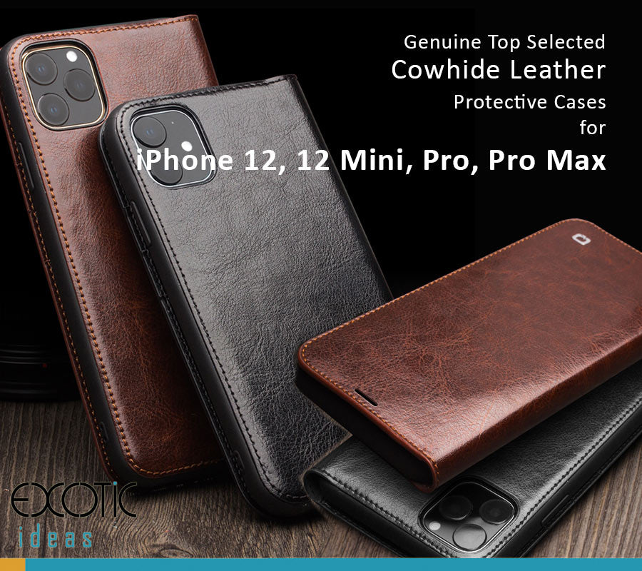 Genuine Selected Cowhide Leather Protective Cases Exclusive Design for iPhone 12, 12 Mini, 12 Pro and Pro Max + Free Gift -Tempered Glass Film