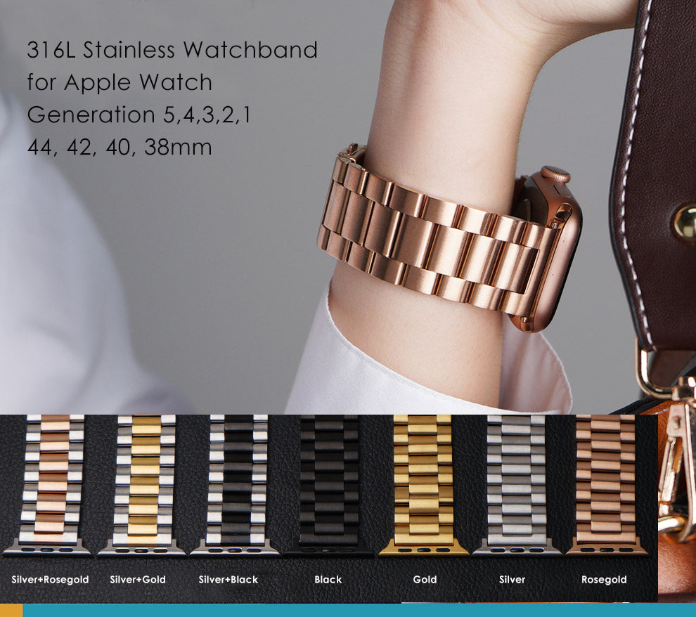316L Stainless Steel Watch Band for Apple Watch 5,4,3,2,1, Three Beads Loop Strap with Butterfly Buckle