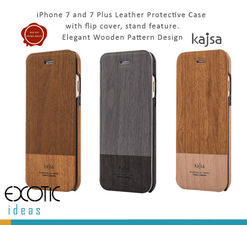 Kajsa Leather Cases/Covers+Flip Cover for iPhone 7/7 Plus -Wooden Pattern