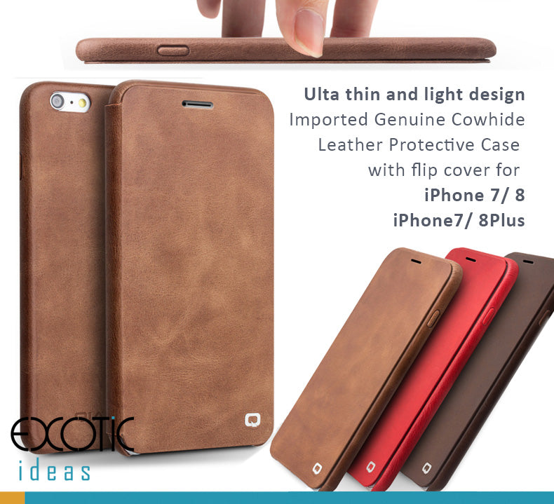 Imported Genuine Calfskin Leather Protective Case with Flip Cover for iPhone 8/7, iPhone 8/7 Plus - Ultathin and light design, Auto Sleep/Awake Feature.