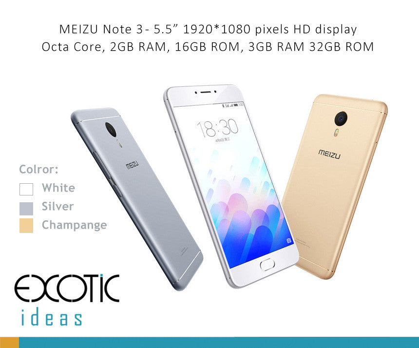 "Meizu Note 3 GSM/WCDMA 2G,3G,4G compatible Smart Phone Octa Core 2GB RAM, 16GB ROM, 5.5""Inch 19200x1080 HD Display Touch ID"