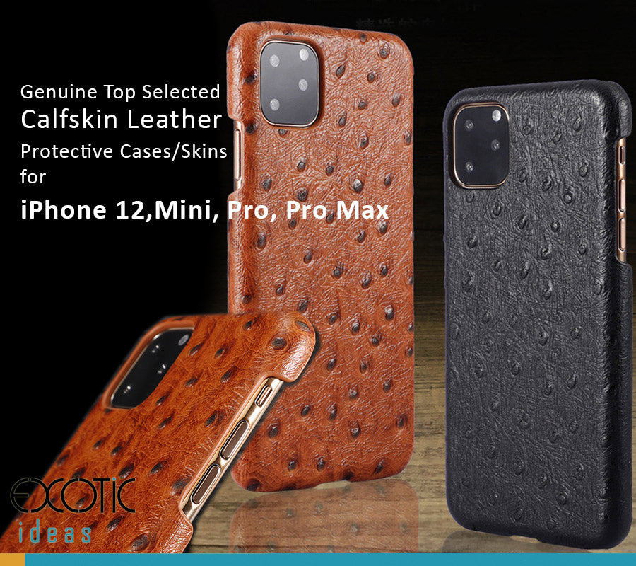Ostrich Skin Texture Genuine Selected Cowhide Leather Protective Cases Exclusive Design for iPhone 12, 12 Mini, 12 Pro and Pro Max + Free Gift -Tempered Glass Film