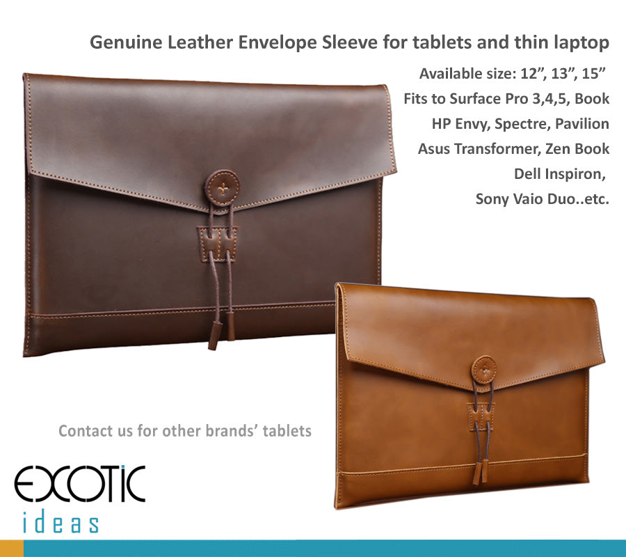 "Genuine Leather Envelope Sleeve for Tablets, Laptops 11"" 12"" 13"" 15"".Surface Pro, HP Envy Spectre, Pavilion, Asus Transformer, Zen Book, Dell Inspiron"