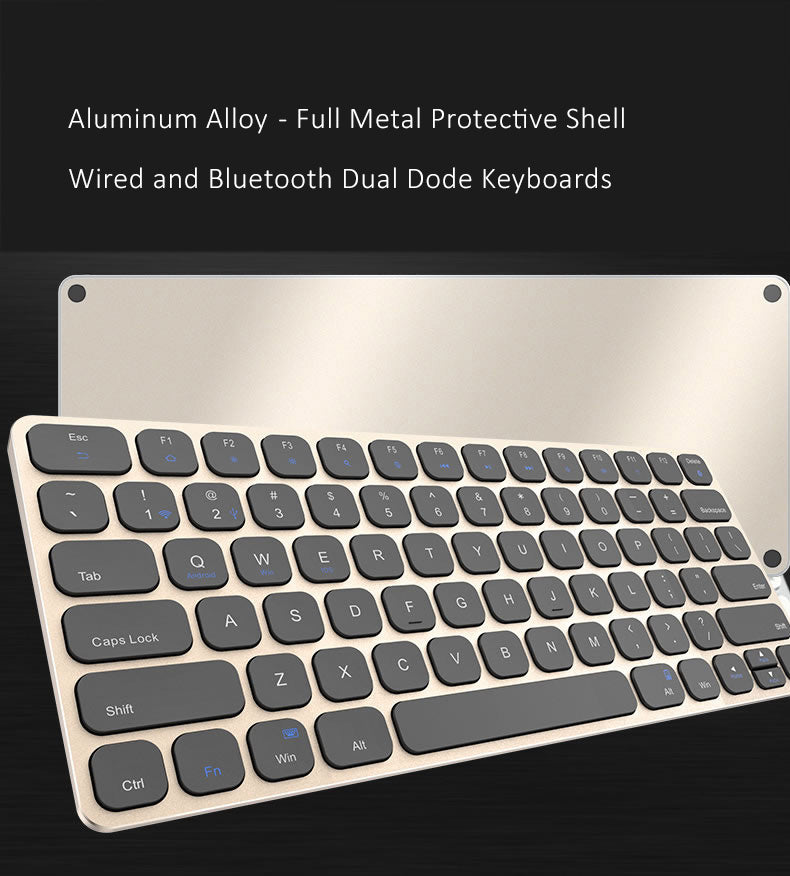 Illuminating 7 Color Backlit Wired+Bluetooth Keyboard, Ultralight Aluminum Alloy Cases for iOS, Android, Windows Systems