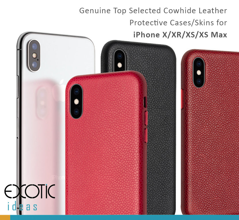 Genuine Selected Cowhide Leather Protective Cases Exclusive Design for iPhone X/XR/XS/XS Max, Free Gift -Tempered Glass Film
