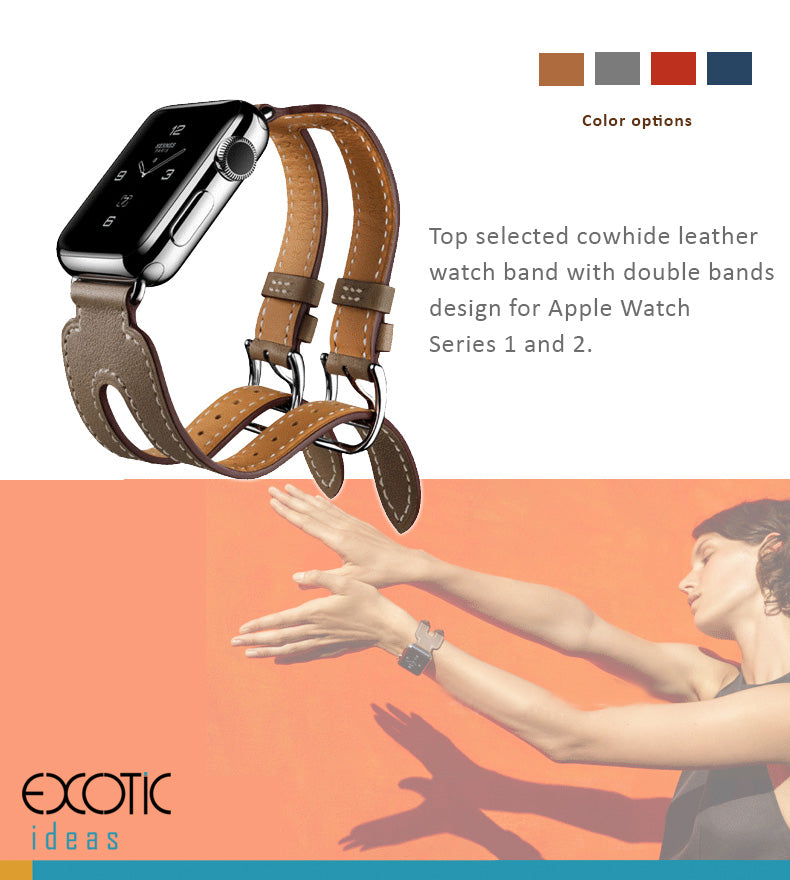 Top selected cowhide leather watch band with double buckle tour design for Apple Watch  Series 1 and 2.