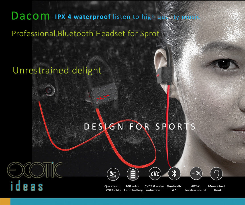 Dacom Sports 4.1 Bluetooth Headset, Headphones, CVC Noise Isolation, IPX4 Waterproof, APT-X lossless sound.