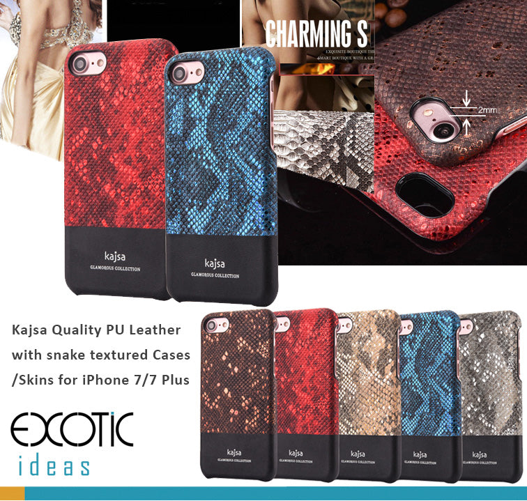 Kajsa Quality PU Leather With Snake Textured Cases/Skins for iPhone, iPhone 7 Plus