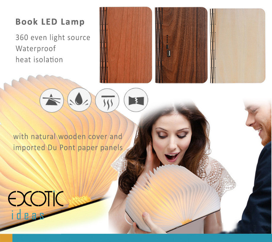 Book LED Lamp with natural wooden cover and imported Du Pont paper panels, Waterproof,heat isolation
