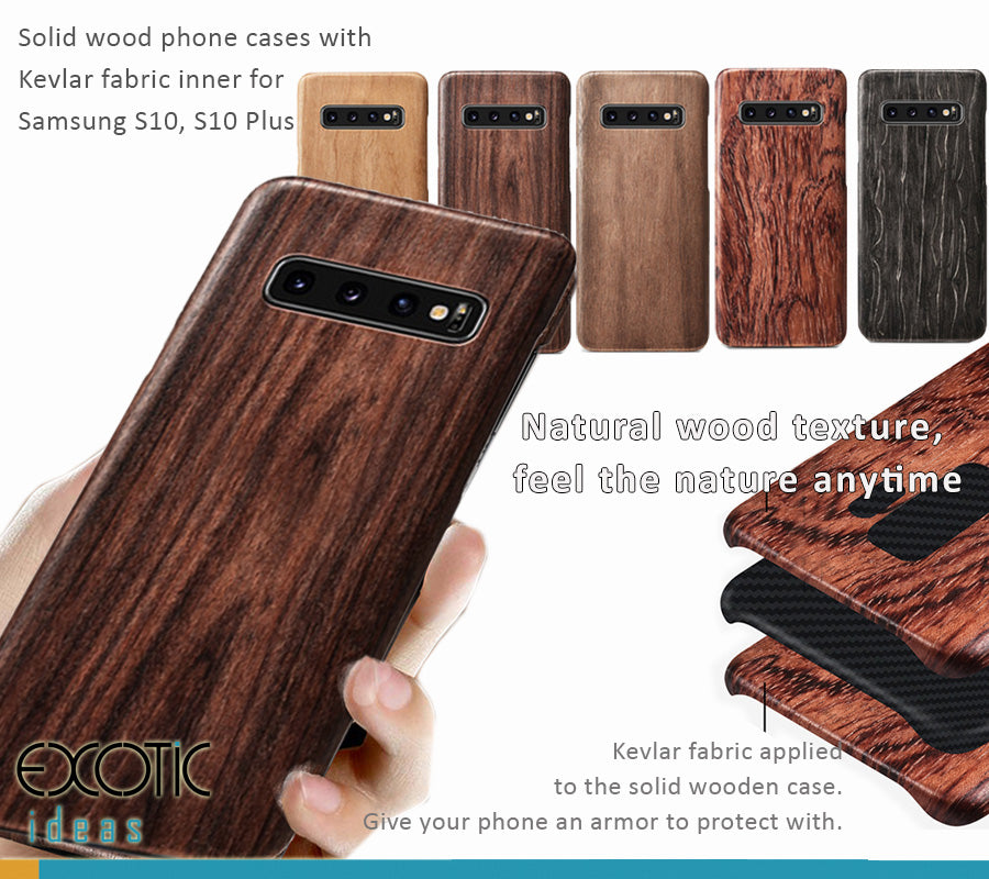 Samsung Galaxy S10/S10 Plus Solid wood phone cases / shells with Kevlar fabric applied in. Give your phone an armor protection.