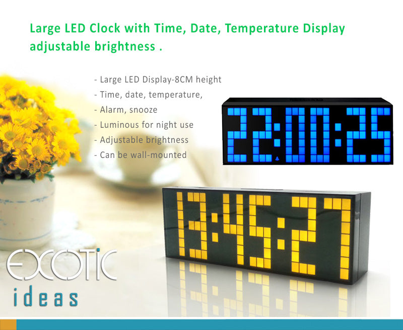 Large LED Clock with Time, Date, Temperature Display,Adjustable Brightness. Alarm Snooze.