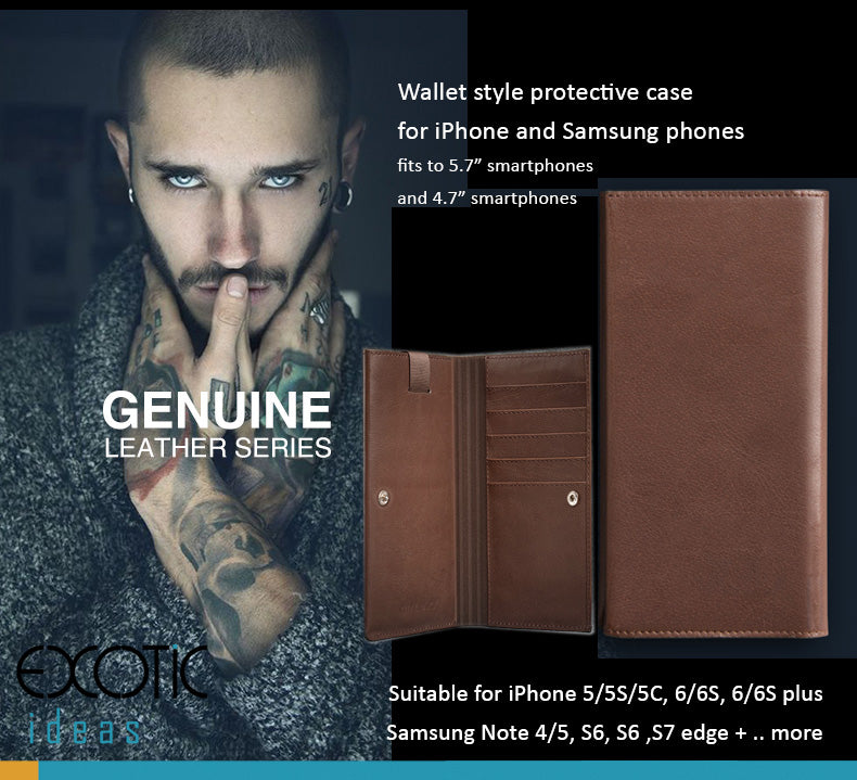 "Geniune Leather Wallet style protective case for iPhone and Samsung phones, Vivo X5,6,  fits to 4.7"" - 5.7"" smartphones"