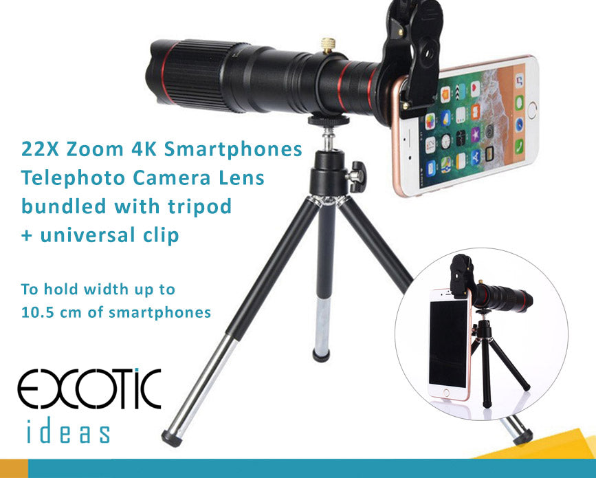best sneakers c1c64 c53a8 22X Zoom 4K Smartphones Telephoto Camera Lens bundled with tripod +  universal clip. Fits to iPhone 8/7/6, 8/7/6 Plus, iPhone X, Samsung Galaxy,  Vivo, ...