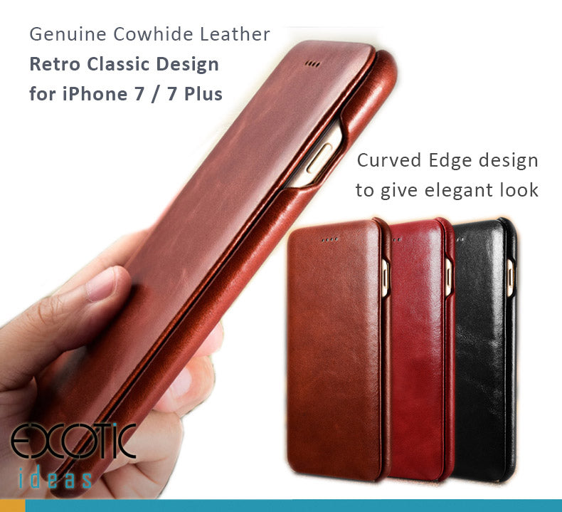 iCarer Retro Classic Genuine Calfskin Leather Cases with Cover for iPhone 7 / 7 Plus,