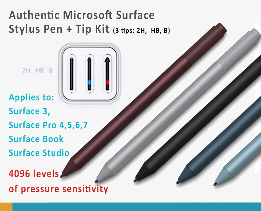 Microsoft Official 4096 Surface Pro 7,6, 5,4, 3 Surface Book, Surface Studio Stylus Pen + Tip Kit (Tips-2H, HB, B)