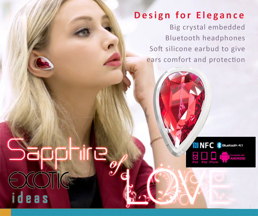 Big crystal embedded dual pairing Bluetooth HD sound headset with soft silicone earbud.