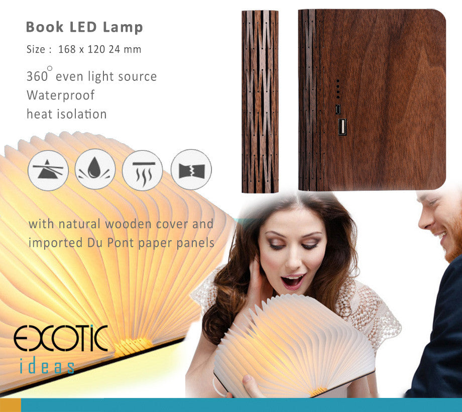 Book LED Lamp with natural wooden cover and imported Du Pont paper panels,Waterproof,Heat Isolation, Special Design for Full portection - Size :  168 x 120 x 24 mm