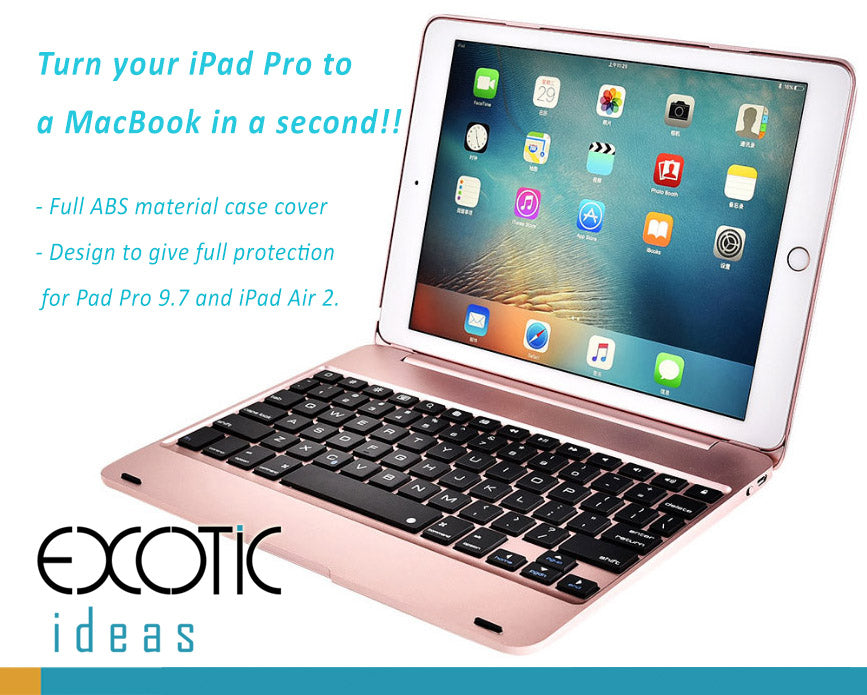 "Bluetooth keyboard with ABS full case cover protection, designed for iPad 2018 The new 9.7"", iPad Pro 9.7'', also fits to iPad Air 2, Air 1."