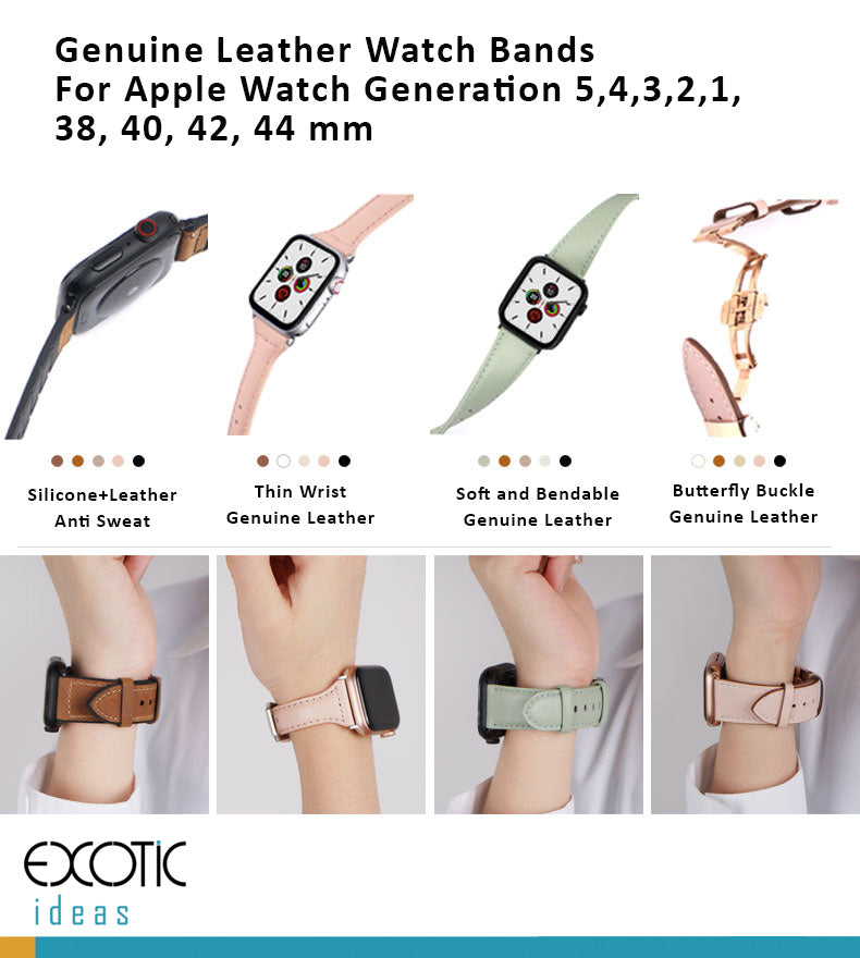 Genuine Leather Watch Bands For Apple Watch Generation 5,4,3,2,1, 38, 40, 42, 44 mm - with Butterfly Buckle