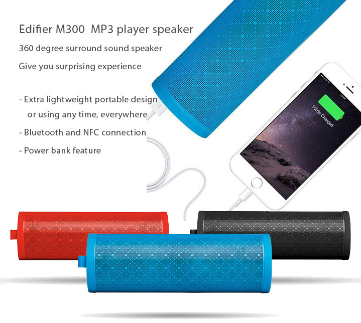 Edifier M300 Bluetooth MP3 Player Speaker, Portable Outdoor Use, 360 degree surround sound, with power bank feature.