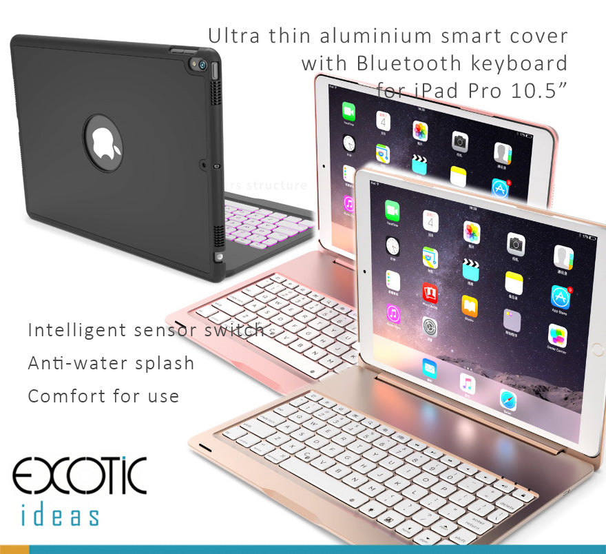 "Ultra thin aluminum smart cover with 7 Color Backlit Bluetooth keyboard for iPad Pro 10.5"", Anti-Water Splash, Intelligent Sensor"