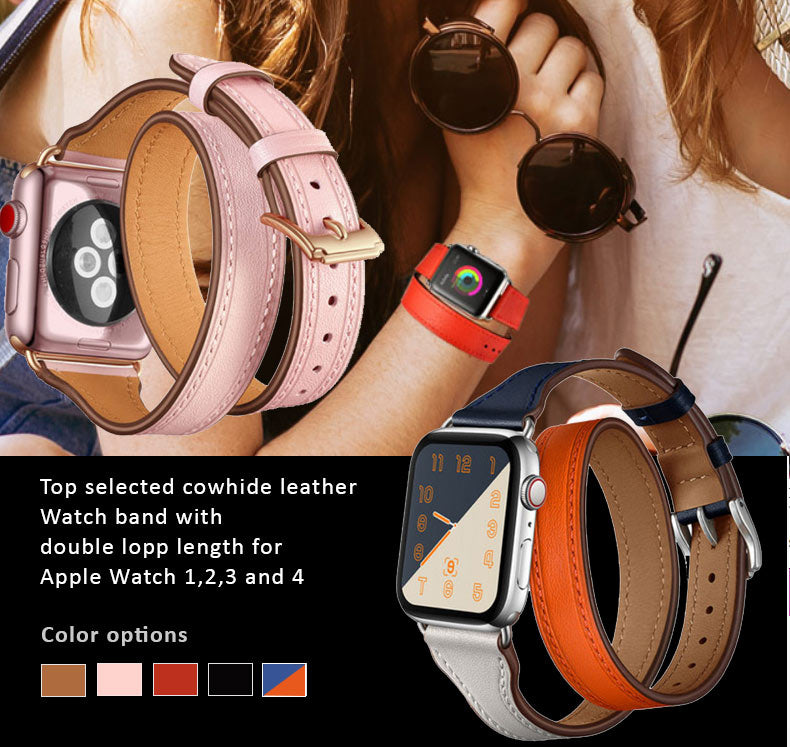 Quality Cowhide Leather Watch Band for Apple Watch 4, 3, 2, 1 - 38mm, 40mm, 42mm, 44mm. Double Loop Strap with extended length.