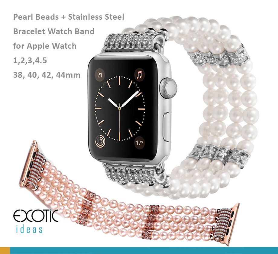 Jewellery Pearl Beads + Stainless Steel Bracelet Watch Band for Apple Watch 5,4,3,2,1, 38, 40, 42, 44mm