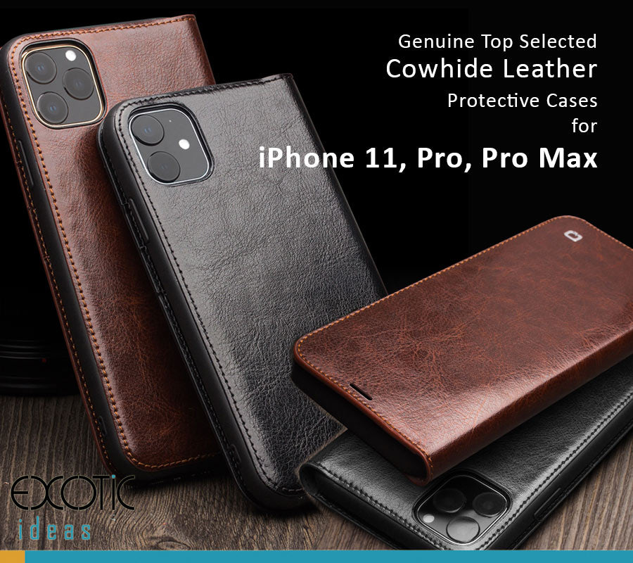 Genuine Selected Cowhide Leather Protective Cases Exclusive Design for iPhone 11, 11 Pro and Pro Max, Free Gift -Tempered Glass Film