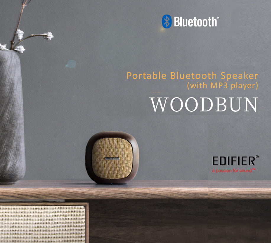 Edifier Woodbun Natural Sabilley Wood Bluetooth Speaker with MP3 Player feature. 48mm full-frequency unit Speaker gives high quality sound effect.