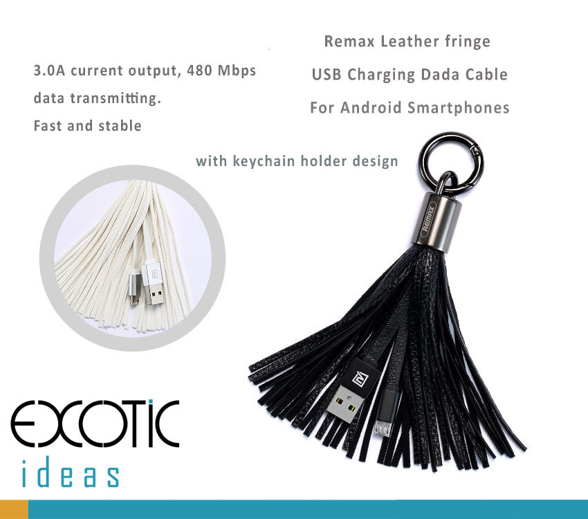 Remax Android Smartphones USB charging and data cable with keychain + leather fringe design
