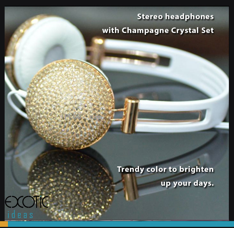 Stereo headphones  with crystal set-  rendy color to brighten up your days.