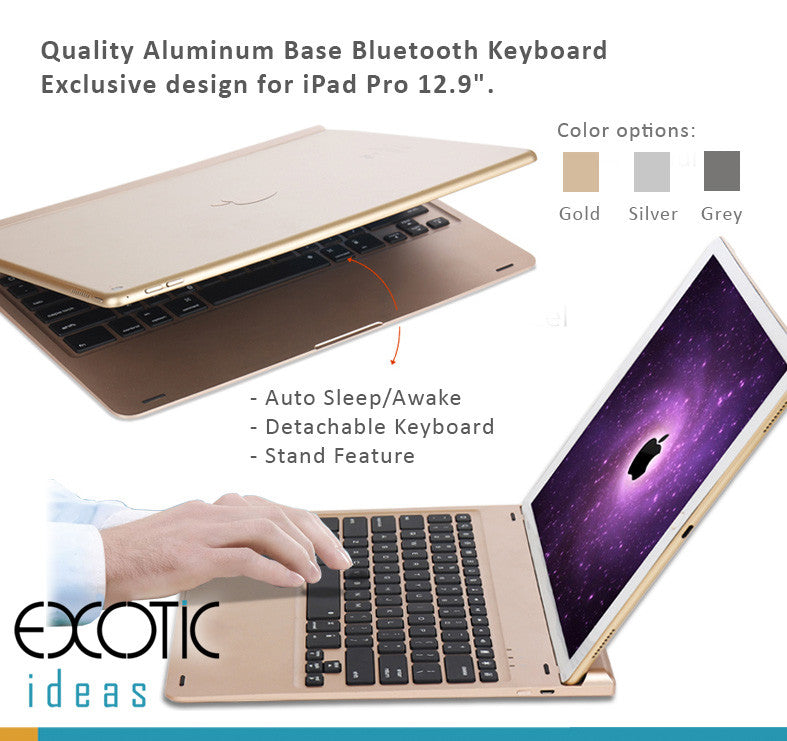 "Quality Aluminum Base Backlit Bluetooth Keyboard with 7 color Back-lights. Exclusive design for iPad Pro 12.9"" ."