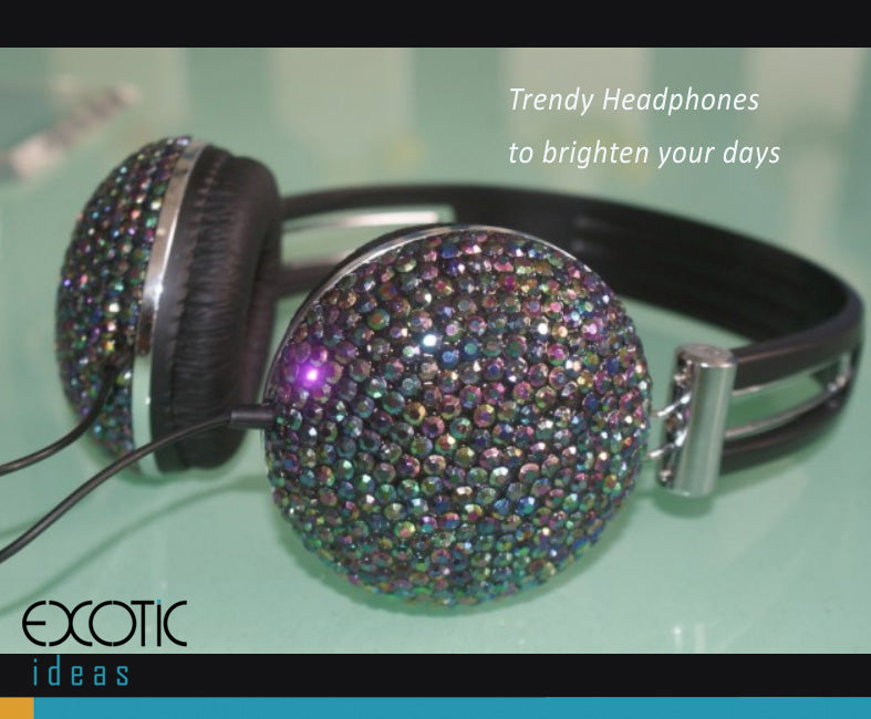 Stereo headphones with crystal set with soft leather pads, bass enhanced-   Trendy color to brighten up your days.