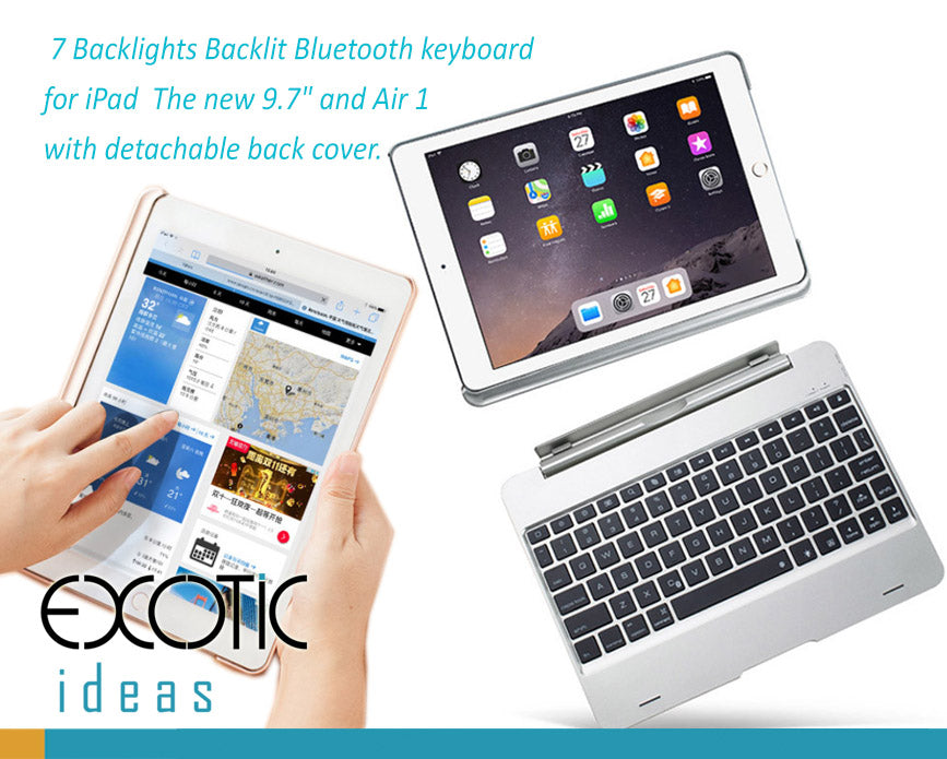 "7 Backlights Backlit Bluetooth keyboard  for iPad  The new 9.7"" and Air 1 with detachable back cover."