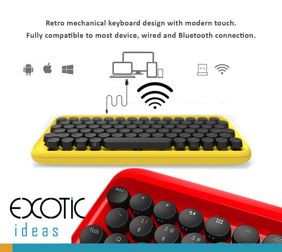 Retro mechanical backlit keyboard design with modern touch. Wired and Bluetooth connection, Fully compatible to most devices.